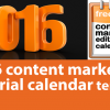 2016 Content Marketing Editorial Calendar Template